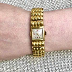 10K GF GOLD RUBY DIAMOND VINTAGE ART DECO WATCH